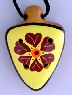 ペルー製花柄オカリナペンダント