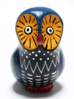 フェアトレードの動物オカリナふくろう(ブルー&オレンジ)