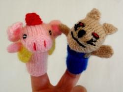 ペルー製手編み指人形セット 3匹のこぶた